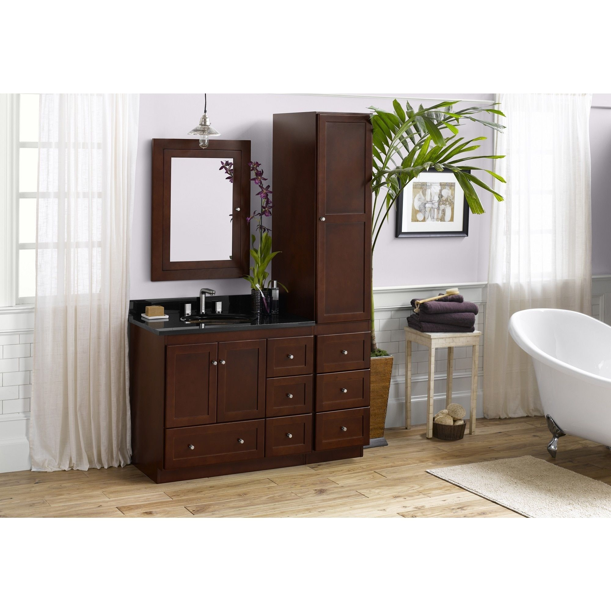 Ronbow Shaker 36 Inch Bathroom Vanity Set In Dark Cherry With Medicine  Cabinet And Linen Tower, Granite Top With White Oval Sink (36, Dark  Cherry), Brown, ...