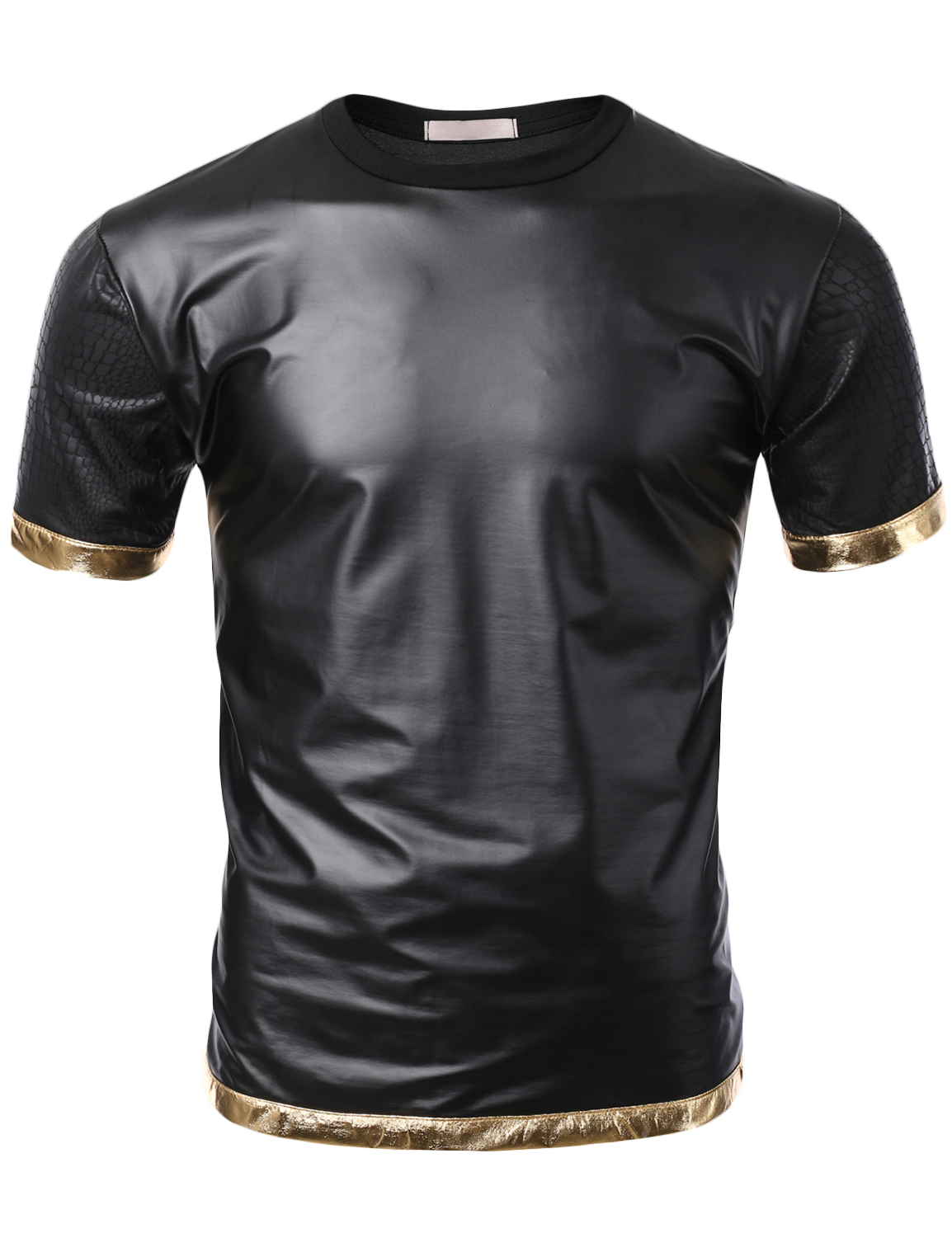 d61ad37940550 SMITHJAY Mens Hip-Hop Black Pearl Snake Leather Sleeve T-shirt with Gold  Trim  smithjay