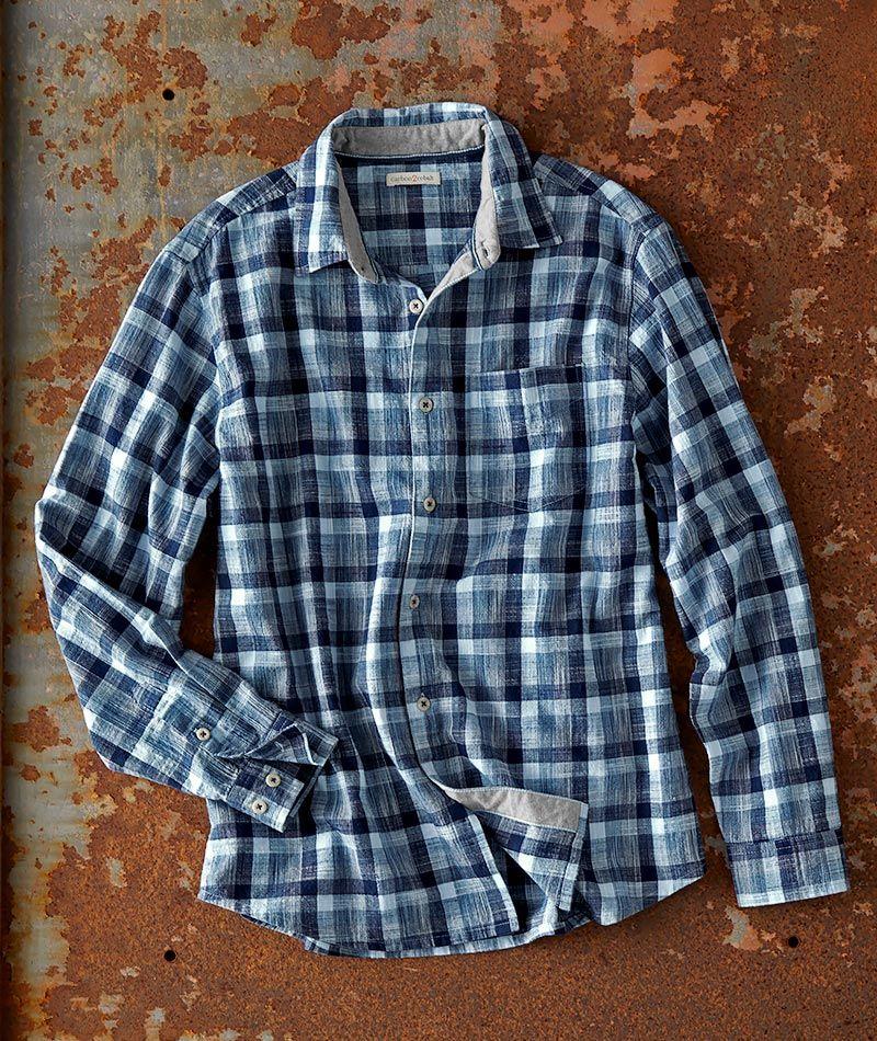 Men S Long Sleeve Sgraffito Plaid Shirt In 100 Cotton In 2020 Plaid Shirt Mens Long Sleeve Casual Work Wear