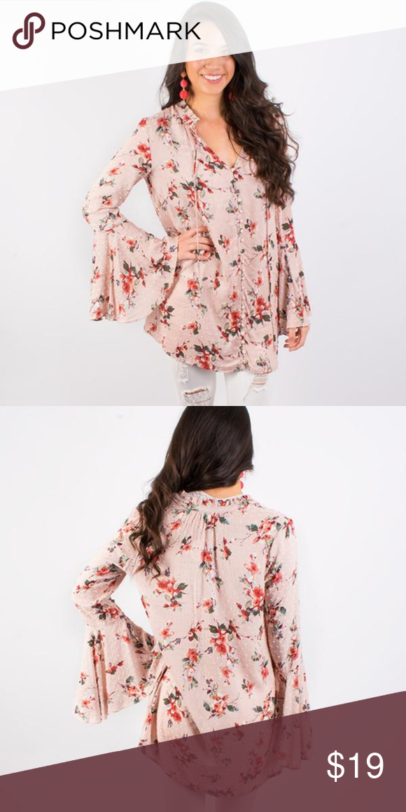 b163fdd4cb0 Floral Tunic Top Pink colored floral tunic top by En Creme with bell  sleeves! En Creme Tops Tunics