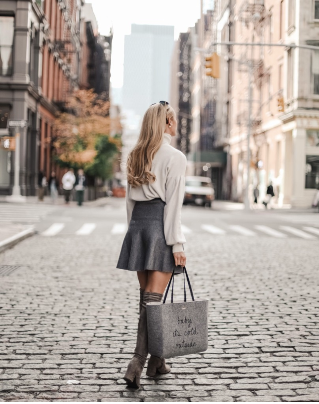 Baby it's cold outside ✨ | Womens Street Style | Casual Neutral Womens Outfits | Winter Fashion Outfits | Womens Fashion Outfits | Cosy Knitware | Grey Skirt Outfits | Grey Tote Bag | Grey Over The Knee Outfits