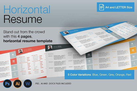 Horizontal, 4 Pages Resume by 8Link on @creativemarket Personal - pages resume template