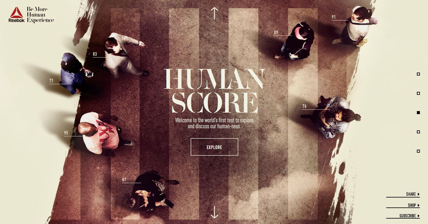 2f4785ffaf4 Reebok  Be More Human Experience - Site of the Day February 19 2015 mélange  onepage