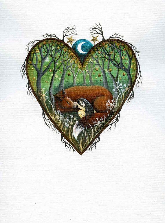 Heart art print. 'Dreaming'.  By Amanda Clark. by earthangelsarts
