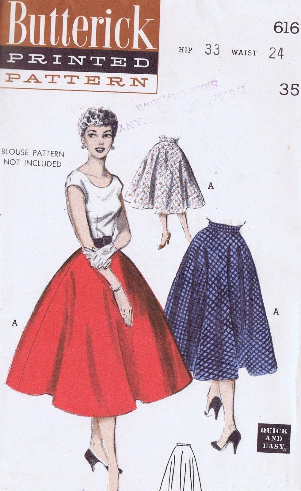 VINTAGE SKIRT SEWING PATTERN 6167 BUTTERICK 1950s SIZE 12 WAIST 24 ...