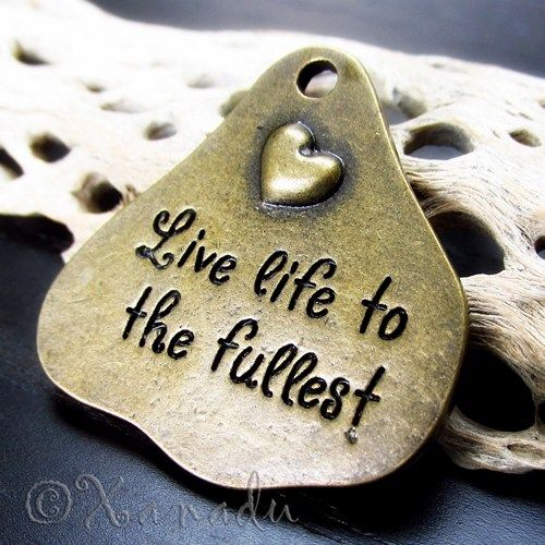 2PCs Live Life To The Fullest Wholesale Brass Plated Charms - C3990b