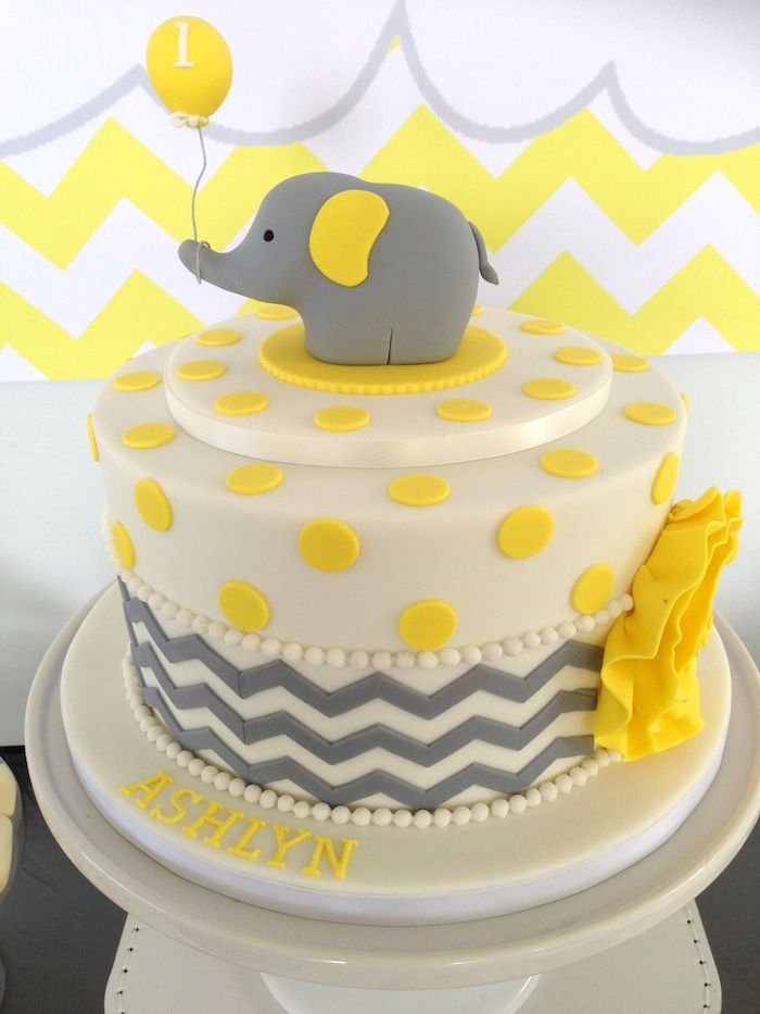 Yellow Grey Elephant Themed Birthday Party Baby Shower Cakes
