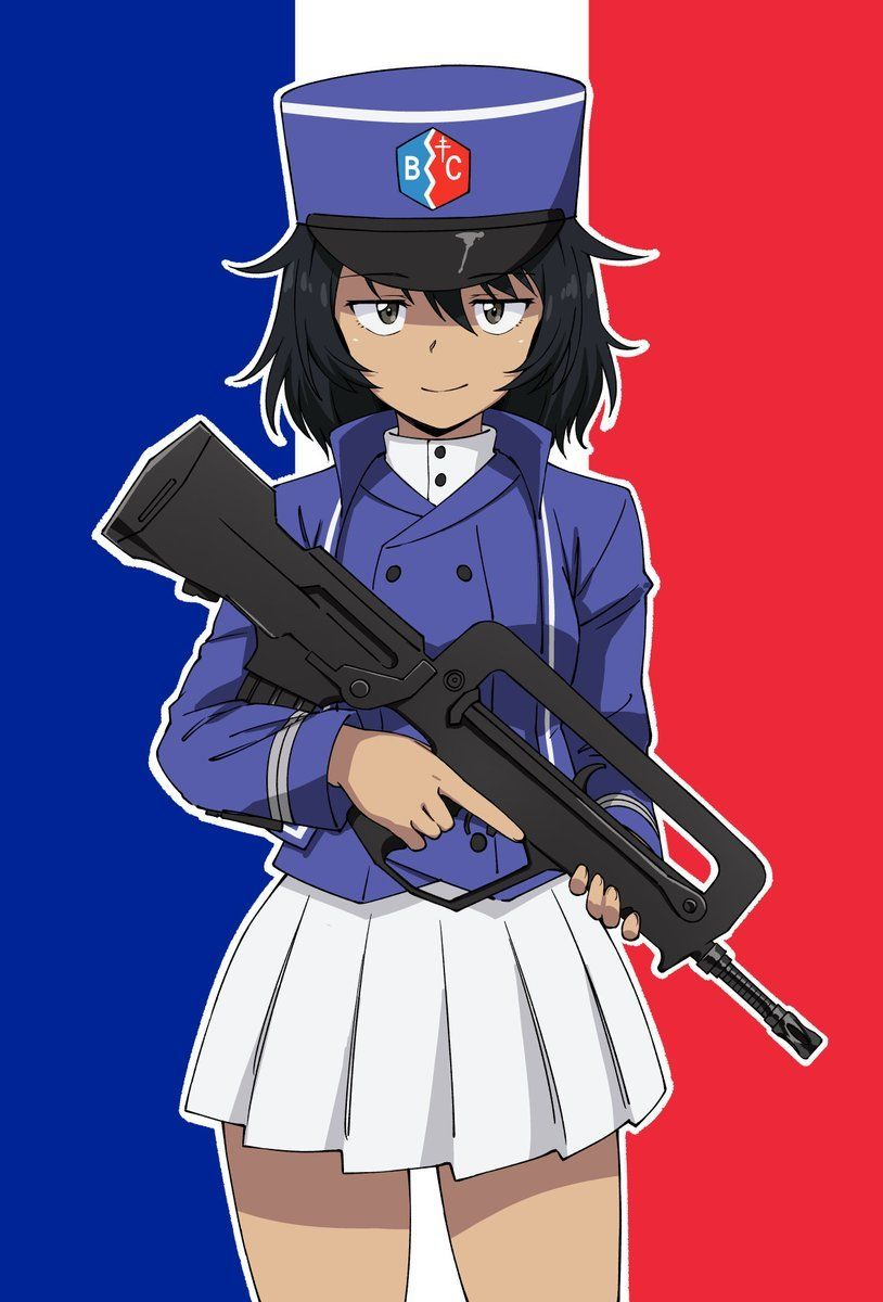Cute french girl with a f1 famas girls und panzer artist