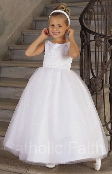 First Communion Dress with Beaded Bodice  Tulle Skirt