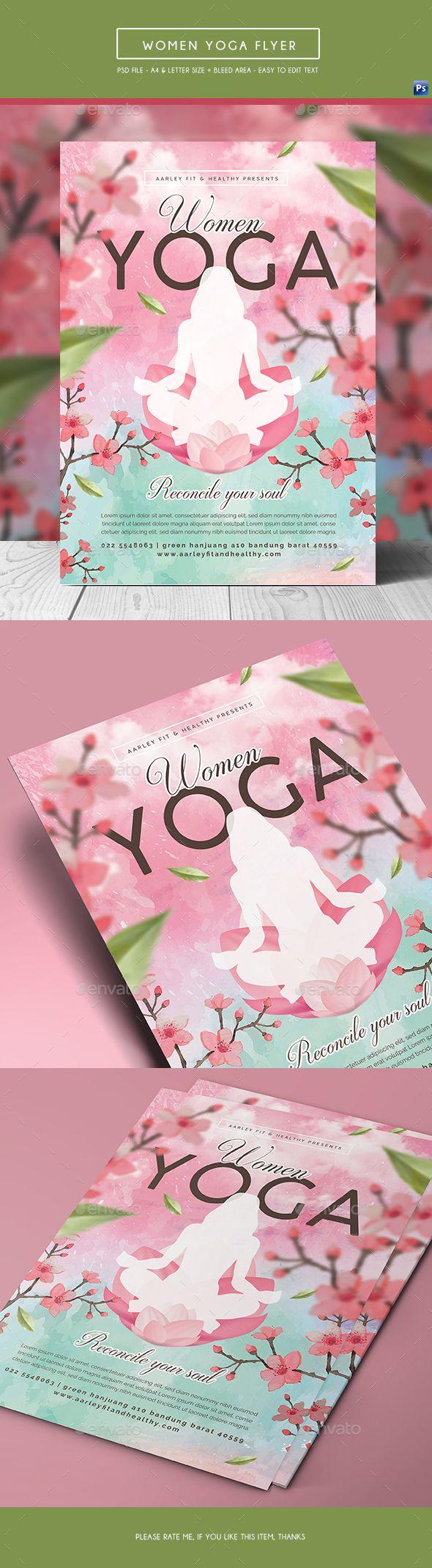 Women Yoga Flyer / Poster | Tarjetas presentacion y Tarjetas