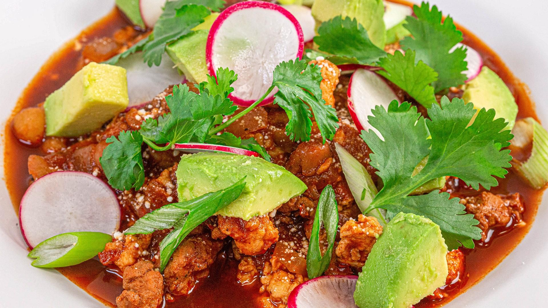 Pozole Rojo Style Chili Recipe With Turkey Or Pulled Chicken Rachael Ray Show Pozole Pozole Rojo How To Make Pozole