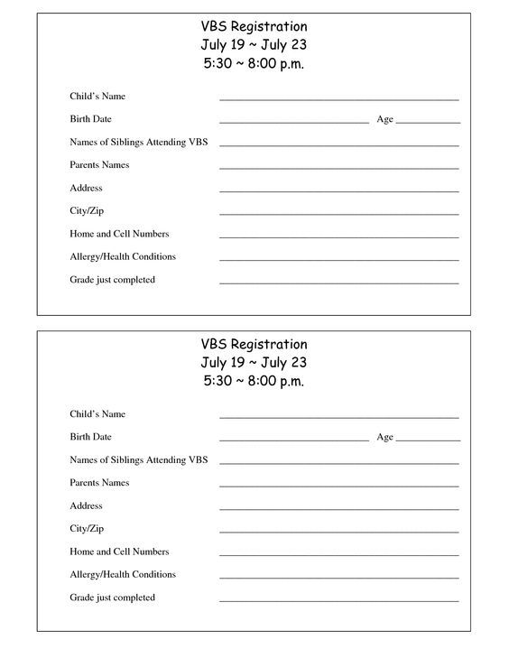 Printable VBS Registration Form Template kids Pinterest