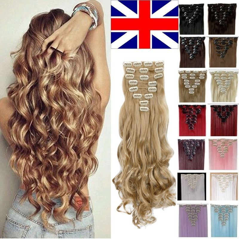 Uk Full Head 8pcs 18clips Clip In On Hair Extensions Real Thick