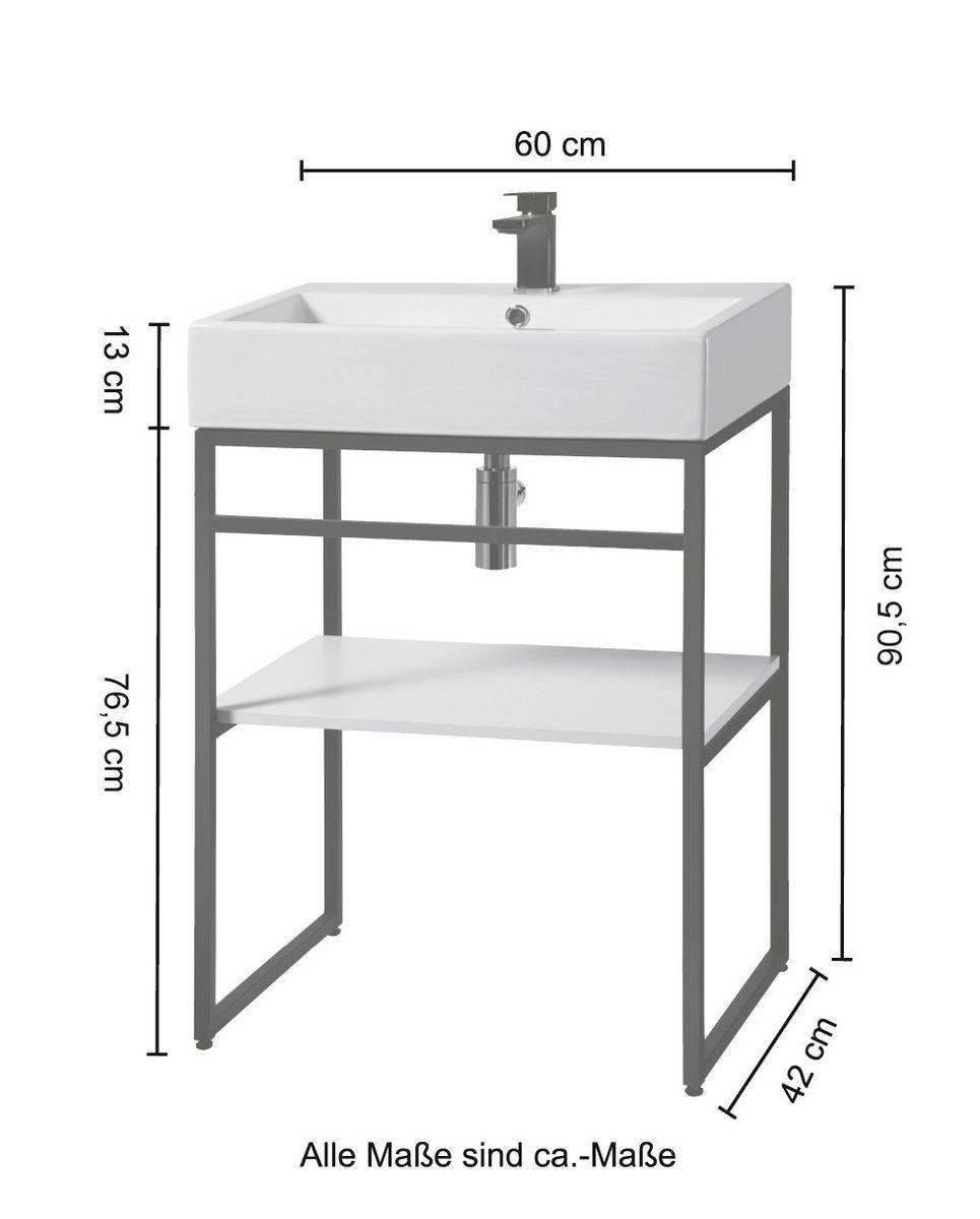 WELLTIME Waschtisch »Metall«, Breite 60 cm kaufen in 2020