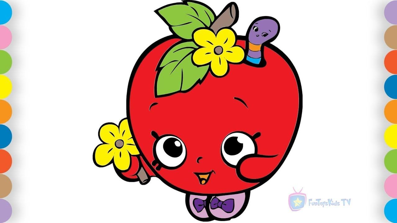 Kids coloring pages - How to draw Apple fruit - Children coloring ...
