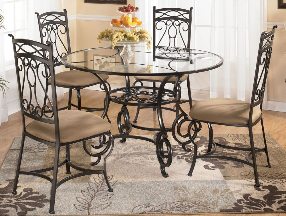 Bianca Round Glass Dining Table With Four Chairs By Signature Design Tenpenny Glass Round Dining Table Round Glass Dining Room Table Glass Dining Room Table