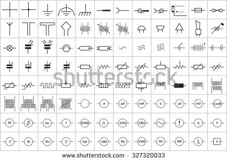96 Electronic And Electric Symbol Vector Vol 1 Stock