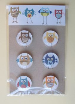 Glass magnets from scrapbook paper...and these are OWLS!!! :)