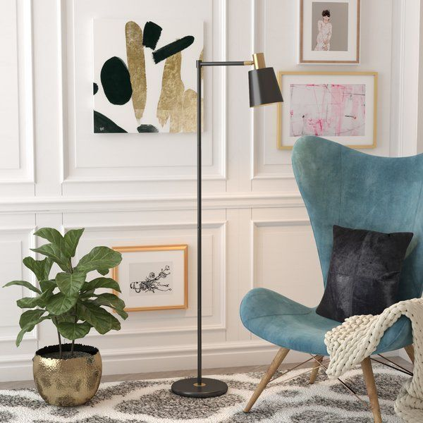 Mcabee 60  Task Floor Lamp is part of Home Accessories Decor Lamps - Make use of an unused corner or shine a spotlight over your favorite seat with this 60  tree task floor lamp, a compact piece that fits easily in any narrow nook  Crafted from metal, it features a round base, a slender body, and an angular arm in a matte black finish that's versatile enough to complement most color palettes  Gold accents dot this design to create crisp contrast, while a coneshaped shade up top completes the look  A compatible 60 W mediumbase bulb is not included