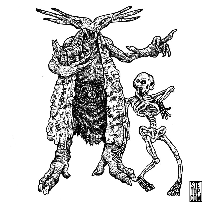 Necromancer Demon Line Art Character Design