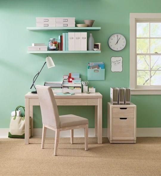 green home office. what a beautiful home office with seafoam green walls