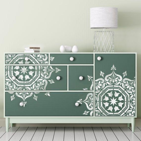 BUKHARA Stencil   Medallion Circular Indian Wall Furniture Floor Craft  Stencil BU001