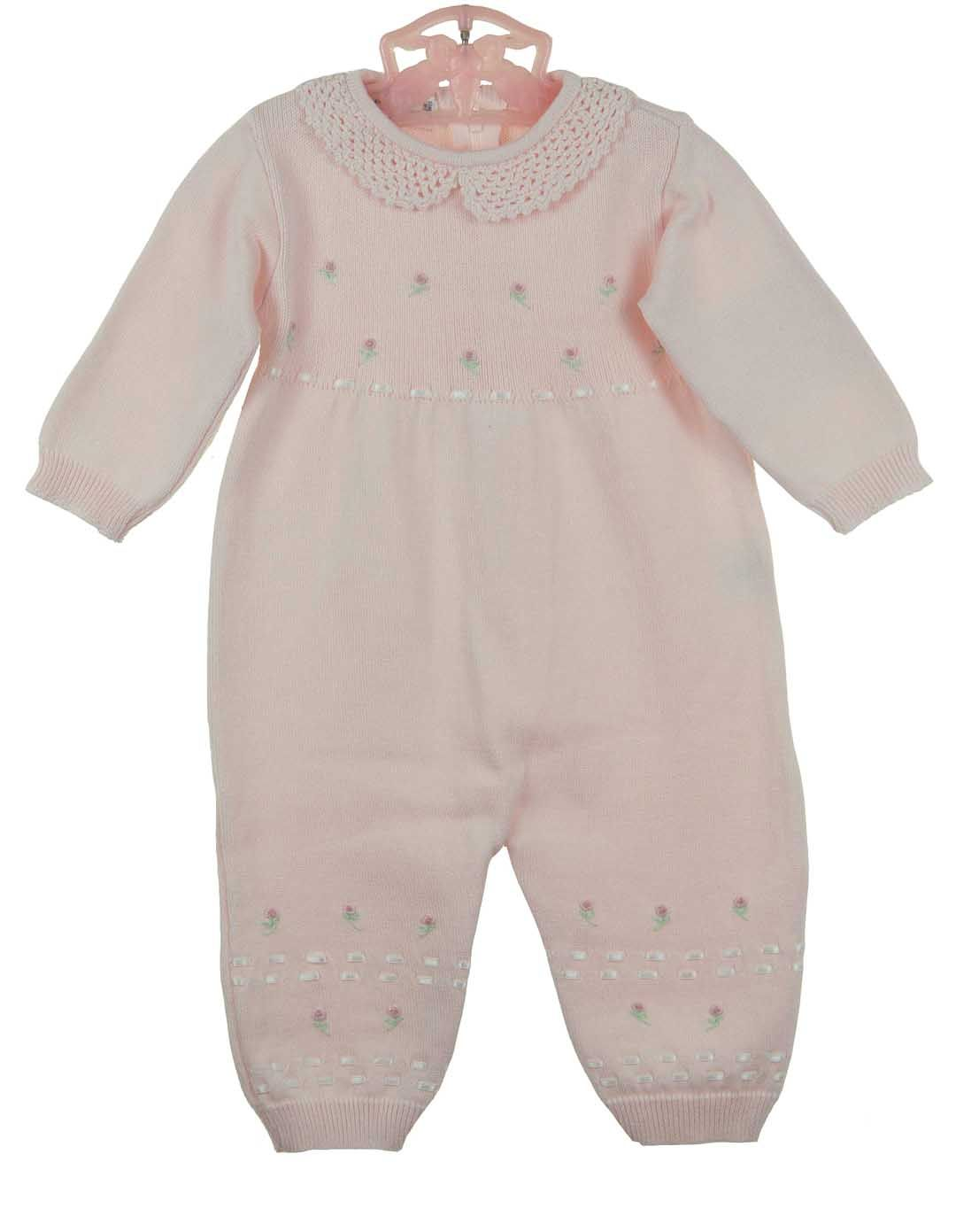 d5736600e NEW Feltman Brothers Pink Cotton Knit Romper with Rosebud Embroidery ...