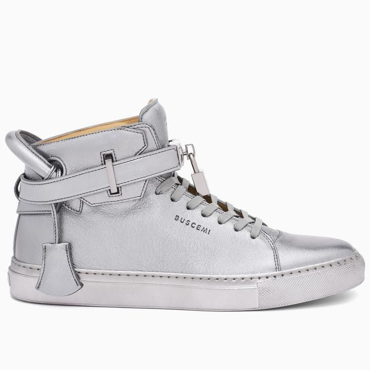 Buscemi Men's 100MM Metallic Silver Sneakers #fashion #sneakers #gifts  #christmas #lifestyle