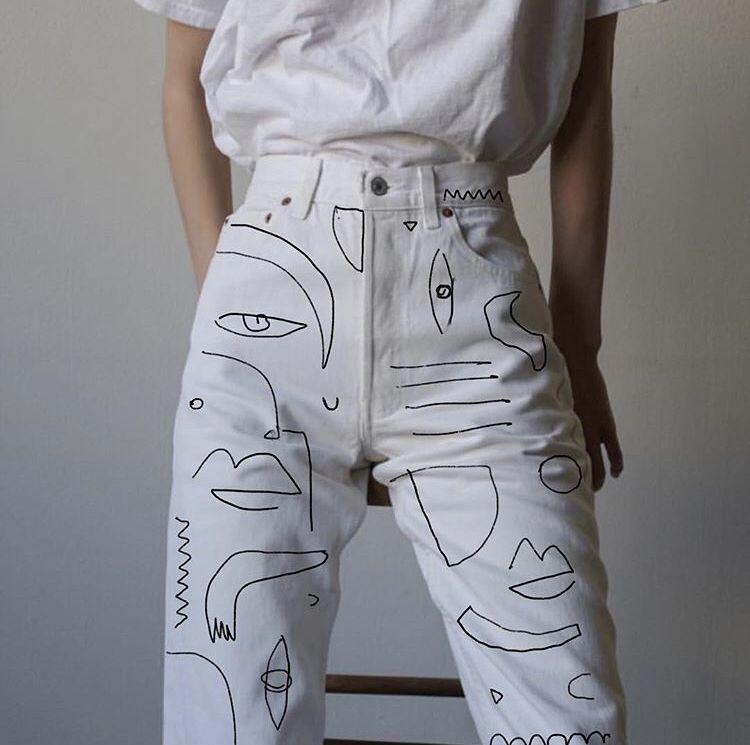 Photo of Envie d'un jean unik? Les broderies style Picasso sont très originales.
