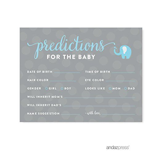 Andaz Press Boy Elephant Baby Shower Collection, Games, Activities, Decorations, Predictions for Baby Cards, 20-pack