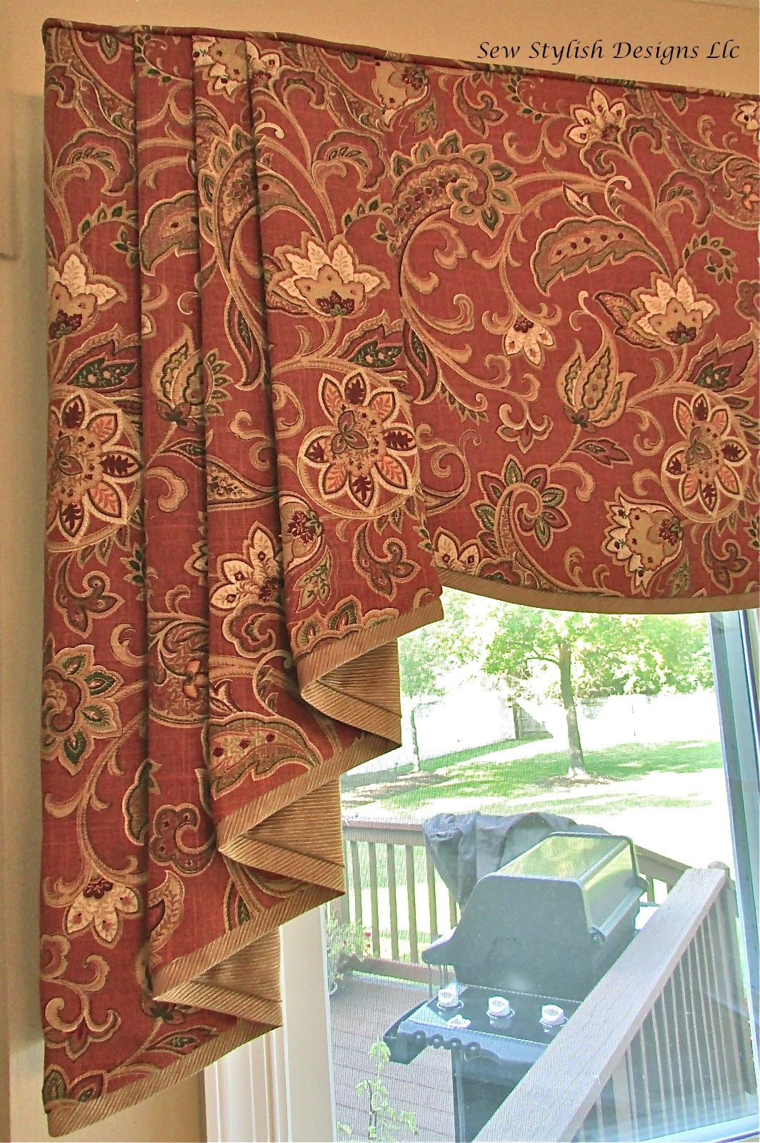 Closeup Of Sophisticated Linen Valance With Pleated Jabots