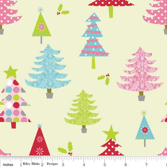 Clearance FABRIC CHRISTMAS TREE Forest in Pastels by Riley Blake 1/2