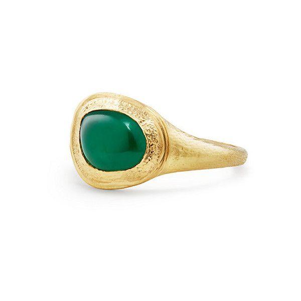 5781b6c4c8f85f David Yurman Shipwreck Signet Ring with Emerald in 22K Gold (4,465 NZD) ❤  liked