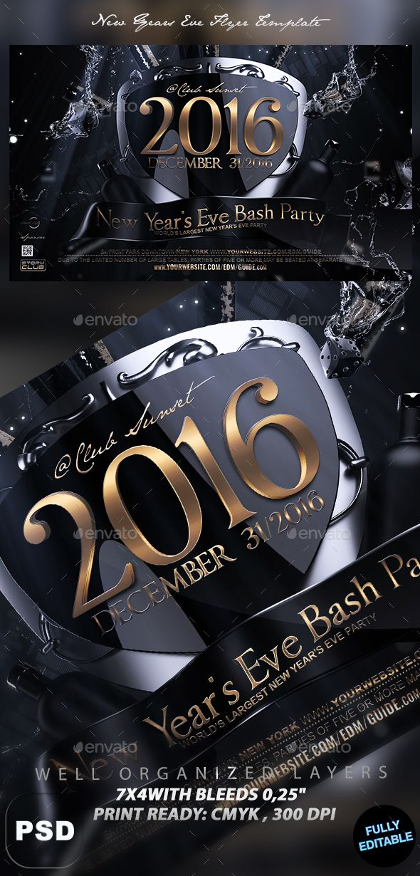 New Years Eve Flyer Template | Logos, Gothic Models And Classy