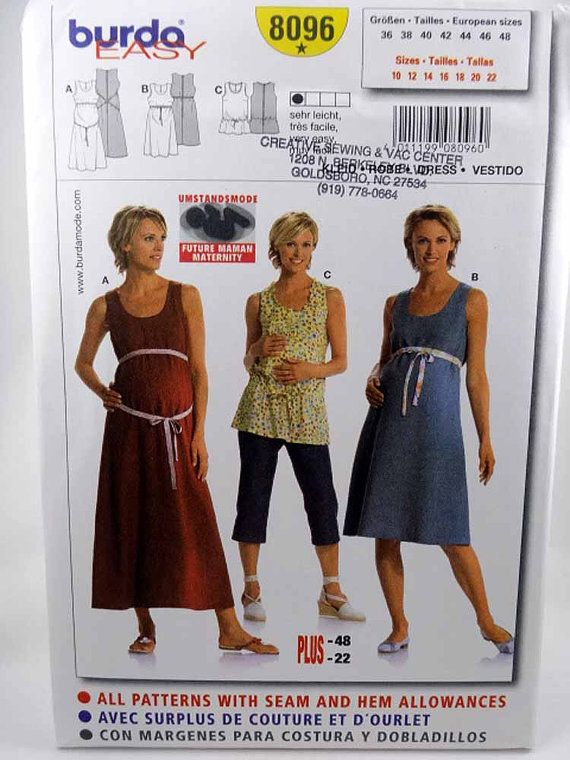 1e70a572e0916 Burda 8096, Misses' Maternity Dress and Top, Sewing Pattern, Size 10 to 22,  Uncut