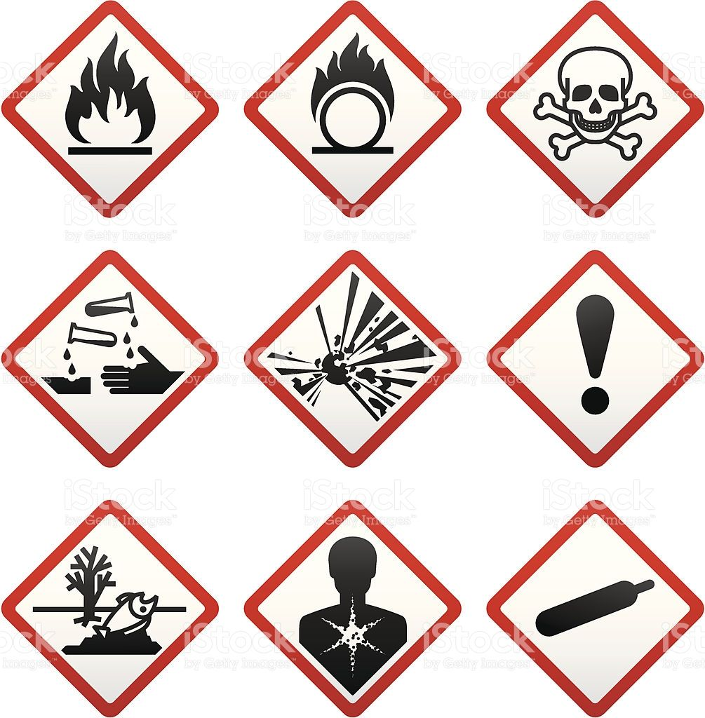 GHS hazard warning symbols. Safety Labels royaltyfree ghs
