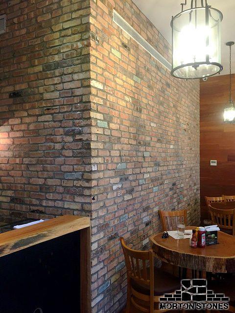 exposed red brick walls in a restaurant mortonstones brick brickwall rustic decor brickveneers interior project tiles renovation pinterest