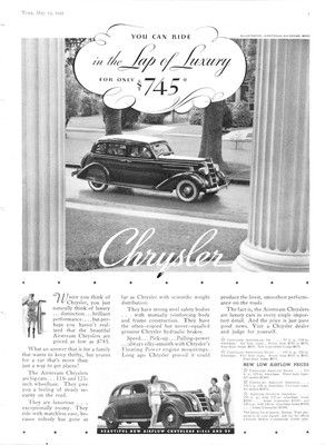 Old car and truck advertisements, The Chrysler Airflow