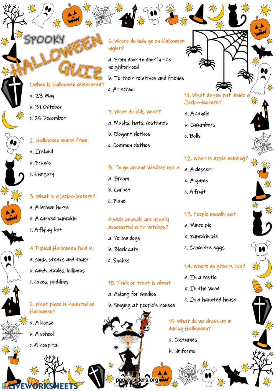Halloween Quiz Interactive worksheet Atividades em