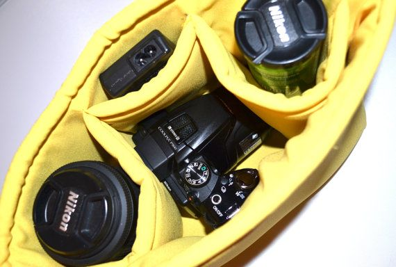 Camera bag, padded camera bag insert for your purse, backpack, diaper bag in  yellow,  by Darby Mack for Seasons Totes