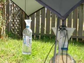 water collectors  water bottle soda bottle  hang from tent rain fly collecting water and creating anchor to hold fly down  ways to get the water from the tarps awnings    here is one way      rh   pinterest