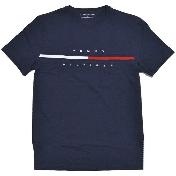 cd63a2e0 Amazon.com: Tommy Hilfiger Mens Classic Fit Big Logo T-Shirt (Navy... ($40)  ❤ liked on Polyvore featuring men's fashion, men's clothing, men's shirts,  ...