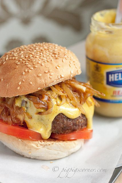 Botham Burger! Thanks Jamie Oliver for this spiced and savory burger! Caramelized onions and curry mayonnaise  top the juicy patty! Home run recipe! Use the curry mayo to jazz up your chicken salad, yum!