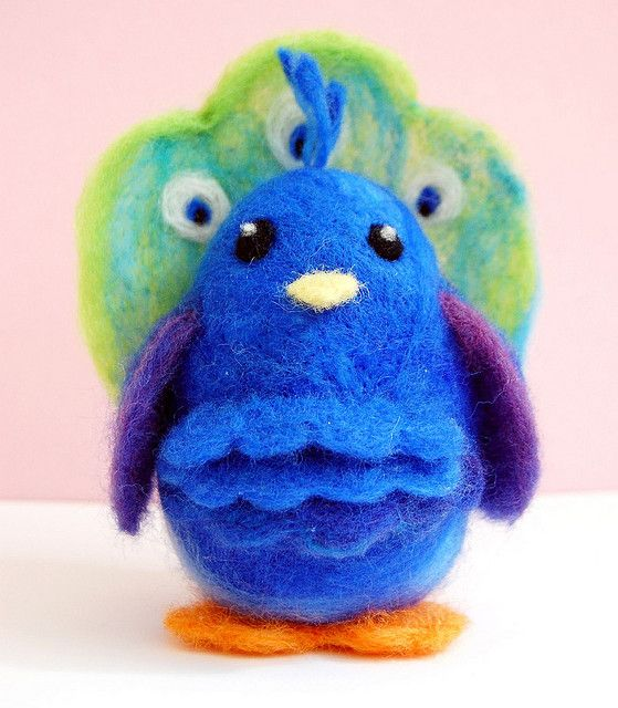 needle felted peacock by mr. huckleberry & the milosaur, via Flickr