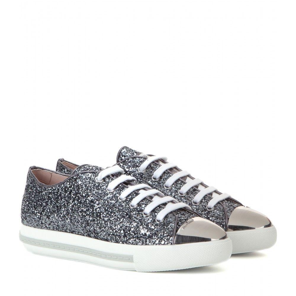29d1a7055953 Miu Miu - mytheresa.com exclusive glitter sneakers - mytheresa.com ...