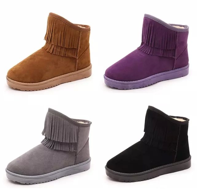 Womens Cute Fringe Casual Winter Boots
