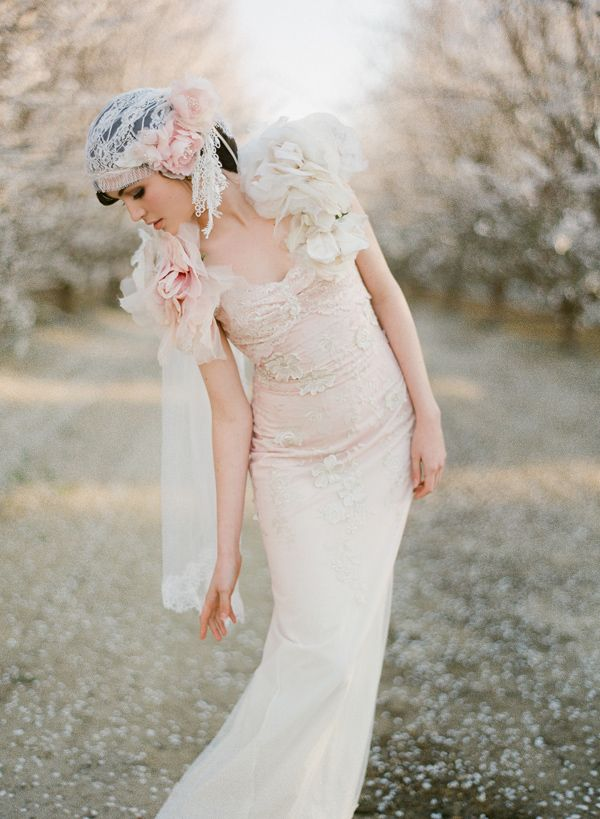 Almond orchard wedding, 20s style wedding dress | ♡it\'s all about ...