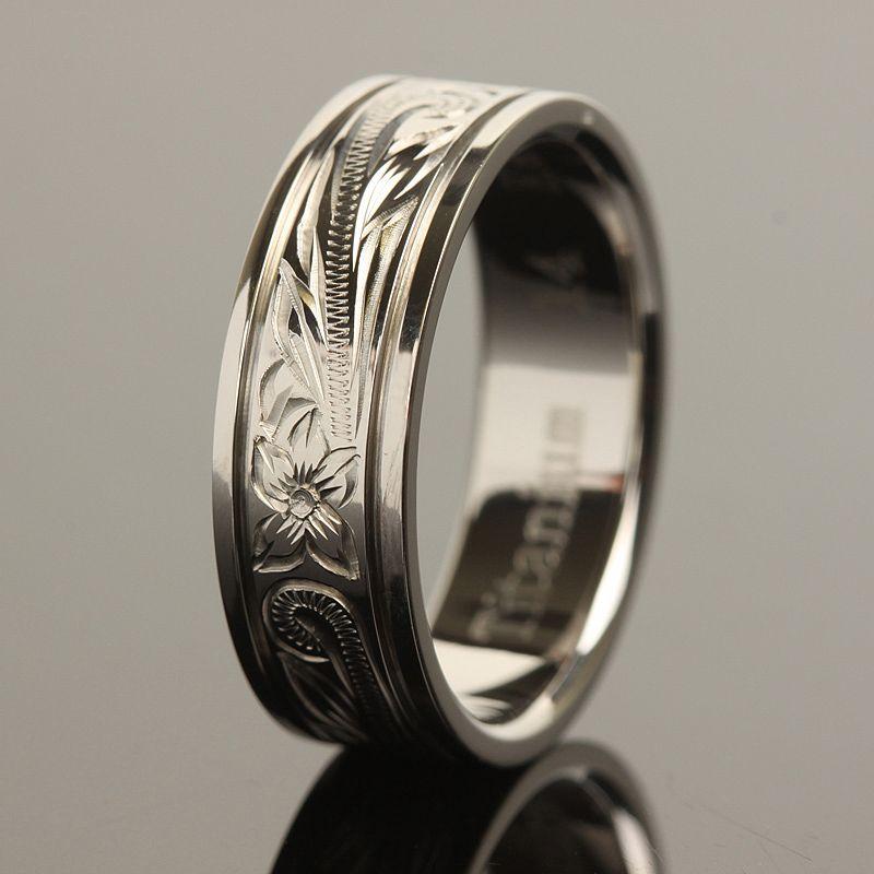 Hawaiian Jewelry Titanium Scrolling Ring 8mm