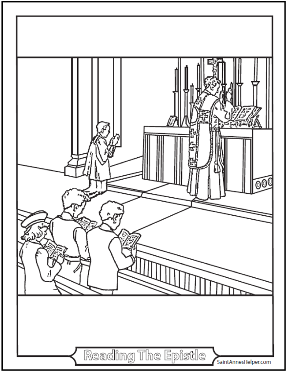 priest coloring page at the altar of god - Father Coloring Page Catholic