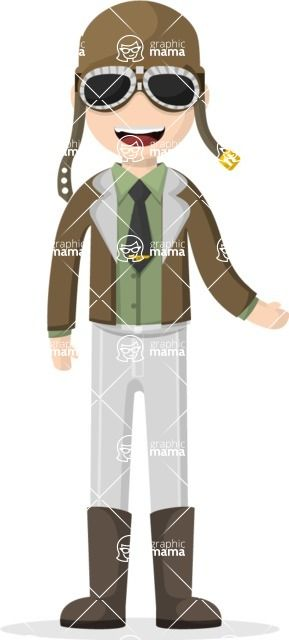Confident Pilot Cartoon Character With Pilot Clothes Glasses And